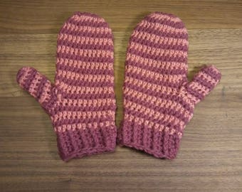 Ready to ship: Crochet pink striped mittens