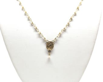 14k Yellow Gold and Gold  Plated Silver Necklace Pearl Pendant Vintage