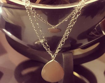 Handmade Silver Chain Necklace with Sand Chalcedony Droplet
