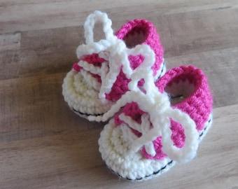 Pink Crocheted Baby Tennis Shoe Booties