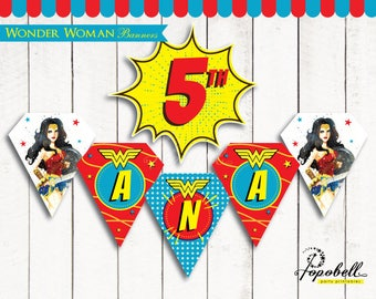 Wonder Woman Banners Printable for Wonder Woman Birthday Party. Happy Birthday Bunting. Personalized Wonder Woman Flags. Digital PDF