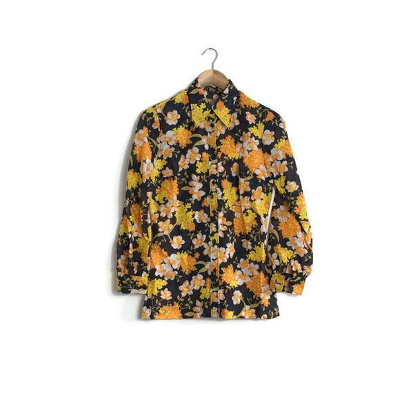 60s retro blouse / floral nylon shirt / 60s black and orange shirt / 60s hippie top / retro print black floral top / kings road / 60s floral