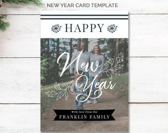 Happy New Year Card Template, 2018 Holiday Card Photo, Holiday Card Template for Photographers, 2018 Family New Year Card, mc192