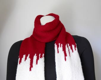 Instant Download Knitting Pattern, Zombie Apocalypse Scarf Pattern, Zombie Time, Knitting Pattern for Zombie or Vampire Victim Costume