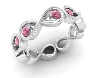Pink Tourmaline Engagement Ring, 14K White Gold, Pink Ring, Forever Ring, Promise Ring, Wedding Ring, Anniversary Ring, Infinity Ring