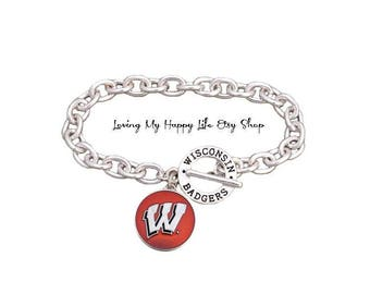WISCONSIN BADGERS, Charm, BRACELET, Cable Chain, University and Athletics Team Name Toggle Clasp, buy 2 get 1 free
