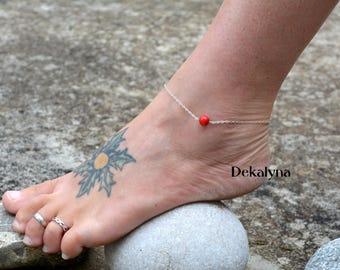Silver ankle bracelet made by Dekalyna coral stone and sterling