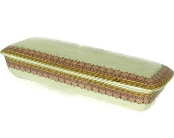 Antique Ceramic Toothbrush Holder. Decorative French Sarreguemines pottery. Art Deco Bathroom Decor. Ladies Razor Box. Ornate lidded dish.