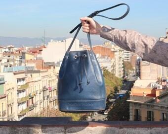 80s Balenciaga bucket bag / drawstring leather bag / vintage blue leather saq purse / Balenciaga shoulder bag / blue crossbody handbag