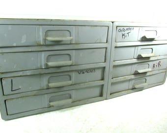 Vintage metal drawer, tool box, metal drawer box, gray drawer, dresser, storage cabinet, organizer, Munsen Metal Products Co.