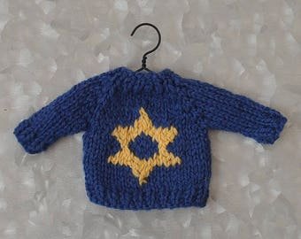 Star of David Hand-Knit Sweater   Chanukah  Hanukkah  Blended Family  Interfaith  Messianic *Available to Order*