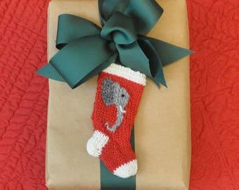 Elephant Hand-Knit Christmas Stocking Ornament   Alabama Christmas Ornament