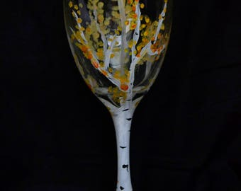 Fall Time Tree Wine Glass