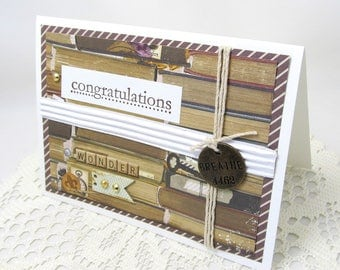 Congratulations Card - Book Theme - Congratulatory Card - Vintage Style - Brown and White - Breathe Embellishment - Rustic Style - Book Card