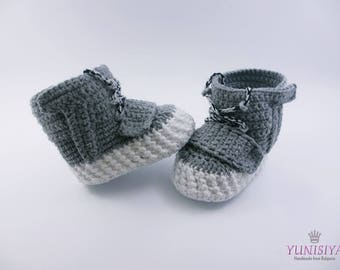 Grey Baby shoes, Yeezy Boost 750, Crochet baby shoes, Crochet baby sneakers, Baby shoes, crochet baby booties,  gray baby booties BB115
