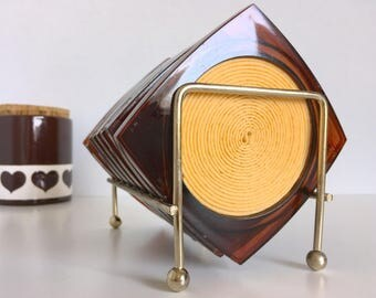 Lucite Amber Swirl Coaster Set With Holder Set of Eight