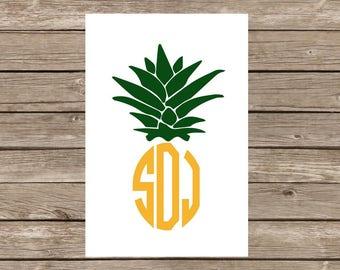 Modern Circle Monogram Pineapple Notecards - Set of 20