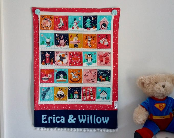 PERSONALISED Merry Little Christmas Advent Calendar, Family Heirloom Quilted Advent Calendar, festive wallhanging