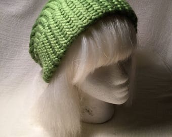 Lime green knit hat