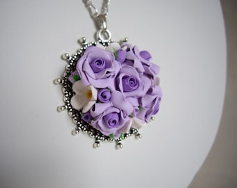 Polymer clay nacklace, Polymer clay floral necklace, Purple rose necklace, Floral nacklace, Polymer clay rose necklace, Handmade necklace