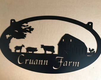 Personalized Metal Sign with  barn and pig ,goat , cow scene