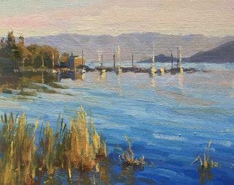 Flathead lake evening - Original contemporary landscape painting - Oil Painting