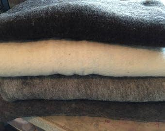 Large Rambouillet Prefelt Batts in 4 colors:  approx. 21X36 inches