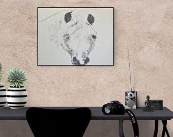 Horse portrait: Arabian horse - custom horse portrait - horse illustration - horse drawing - horse painting
