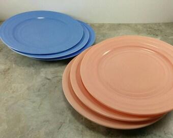 Vintage Hazel Atlas Moderntone Platonite Pink and Blue Dinner Plates - Set of 6