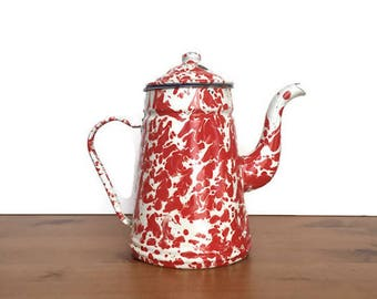 Red spatterware coffee pot vintage enamelware metal splatter design