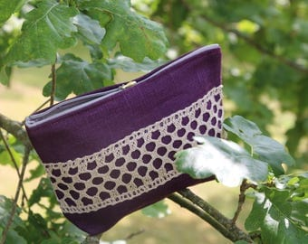 Purple Linen Cosmetic Bag Decorated with Linen Lace