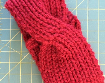 Dark garnet Red hand knitted head band ear warmer with cable twist wool and acrylic yarn warm co-worker gift women