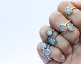 Rainbow moonstone ring | June Birthstone Ring | Moonstone stacking ring | Birthstone jewelry | Organic stone jewelry