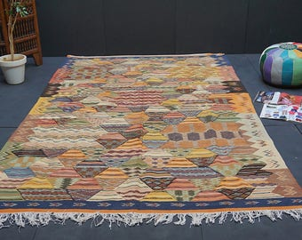 Patchwork Moroccan rug 6x10 Vintage Moroccan Middle Atlas Berber flat Kilim Rug Kelim Berber Handmade Woven Atlas Wool Authentic Kilim