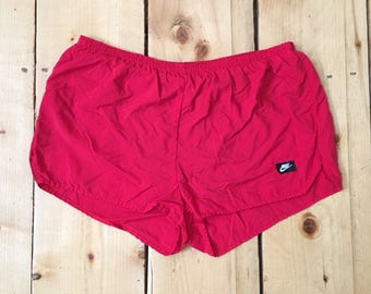 "Vintage 80s 90s Nike Red VERY SHORT Swim Trunks / Lounge Shorts / Running Shorts  - Large (32"" - 34"" waist)"