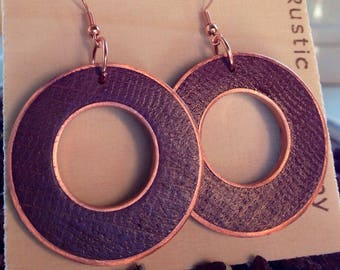 Oak and Copper Earrings in Metallic Purple