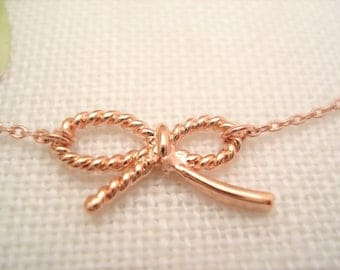 Rose Gold Bow Knot necklace...bow bridal jewelry, tie the knot, Wedding gift, Flower girl, bridesmaid gift, best friend gift