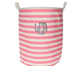 Custom Swarovski Crystal Monogram Stripe Laundry Hamper - Laundry Basket - Storage - Perfect Gift - Graduation Gift - Toy Basket - Nursery