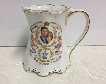 Royalty, Charles and Diana, First Born, Mug, Prince William, Collectible, Gift for Collector, Vintage, Vintage Royalty, Lady Di, Prince