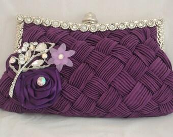 Purple Evening Clutch, Purple Bridesmaid Clutch, Maroon Flower Clutch, Crystal Handbag, Party Clutch, Wedding Handbag, Purple Formal Clutch