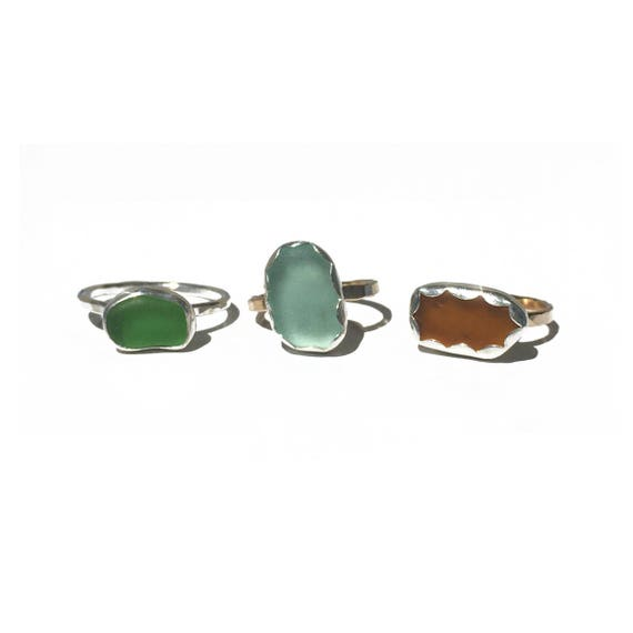 sea glass stacker rings