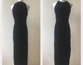 vintage 90's BLACK VELVET evening GOWN - small