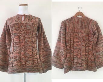 vintage 70's CABLEKNIT BELL SLEEVED space dyed sweater - small