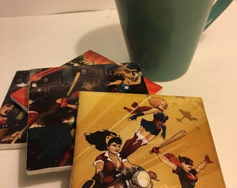 DC Bombshells Harley Quinn Wonder Woman Supergirl Batgirl Poison Ivy Comics Coaster Set
