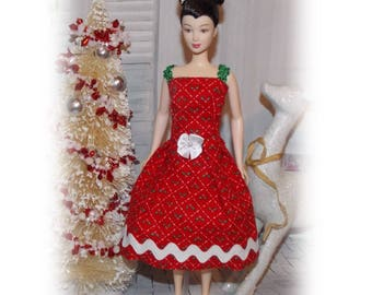 """Stocking Stuffers Collection.  Christmas Colors.  Christmas dress for 11.5"""" & 12"""" Fashion Dolls.  Fashion Doll Clothes"""