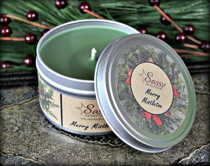 MERRY MISTLETOE | Candle Tin (4 or 8 oz) | Sassy Kandle Co.