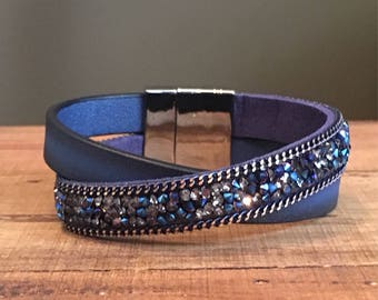 Rustic Navy Rhinestone & Leather Single Wrap - Magnetic Clasp