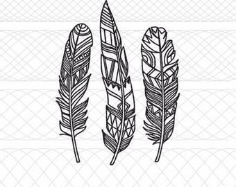Aztec Tribal Print Feather Trio Bundle SVG, PNG, and STUDIO3 Cut File for Silhouette Cameo/Portrait and Cricut Explore Craft Cutters