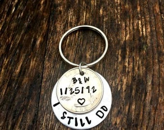 Husband Gifts, 1992 Quarter, 25th Anniversary, Gifts For Men, 25 Years, Hand Stamped Jewelry, Couples Key Chains, Wedding Gifts for Him