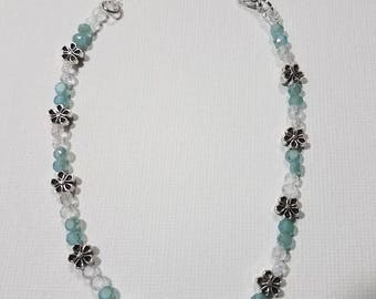 Light Blue Faceted Disc Glass Beaded Anklet with Flowers